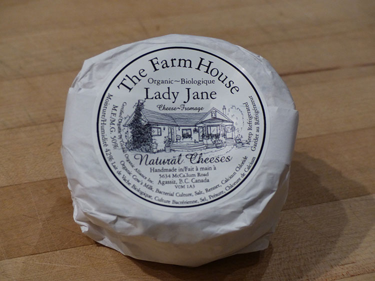 The rich, luscious, triple-crème-brie-like Lady Jane cheese from The Farm House Natural Cheeses