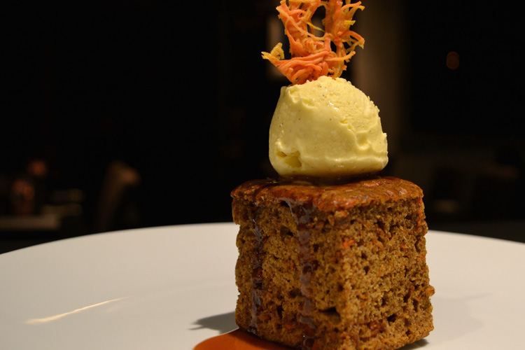 Carrot Cake with Cream Cheese Ice Cream and Grand Marnier Caramel Sauce