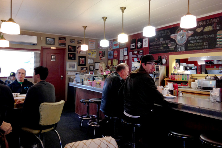 Hilltop Diner's retro interior