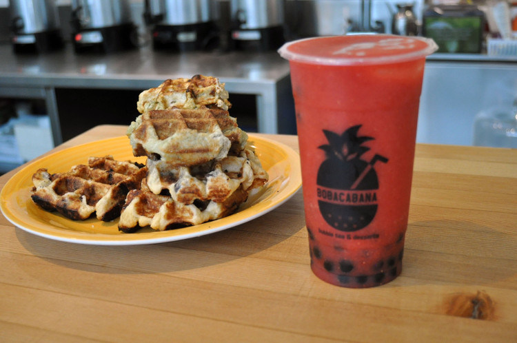 Waffles and bubble tea at BoboCabana