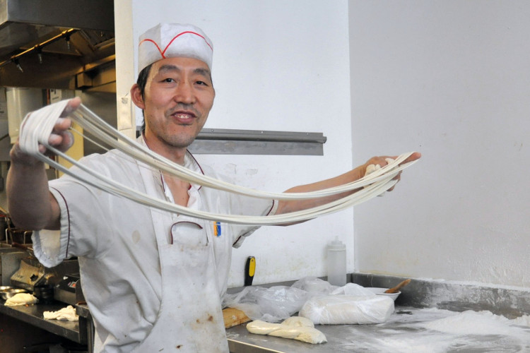 Hand-making noodles at North Noodle House
