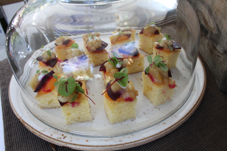 Nothing is sweeter than these Goldstrike Honey mini cornbreads, featuring Forma Nova beets and pears, topped with buttermilk fluid gel and red veined sorrel (freshly clipped right in front of you) from Vancouver's Ritual eatery.