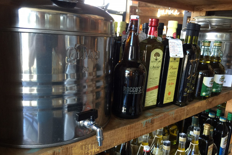 Refills are available of fresh, extra virgin olive oil.