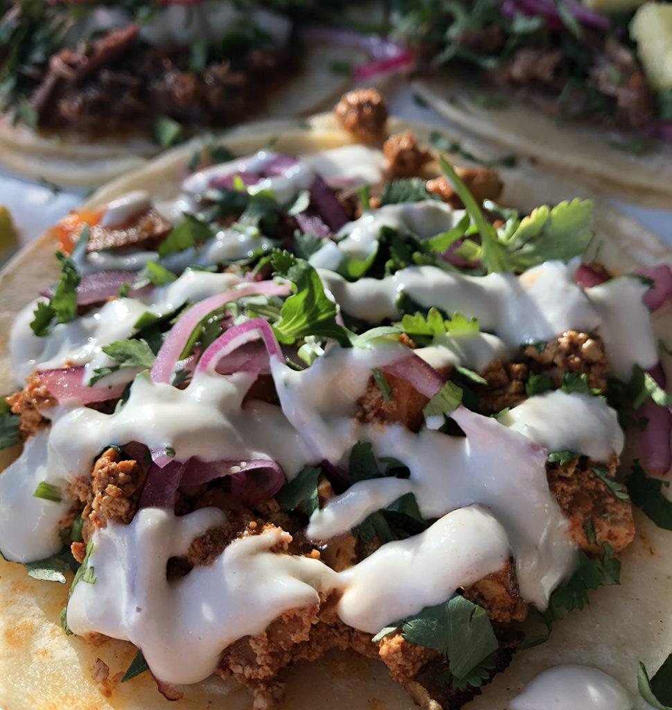 "This tofu ""chorizo"" taco is completely vegan."