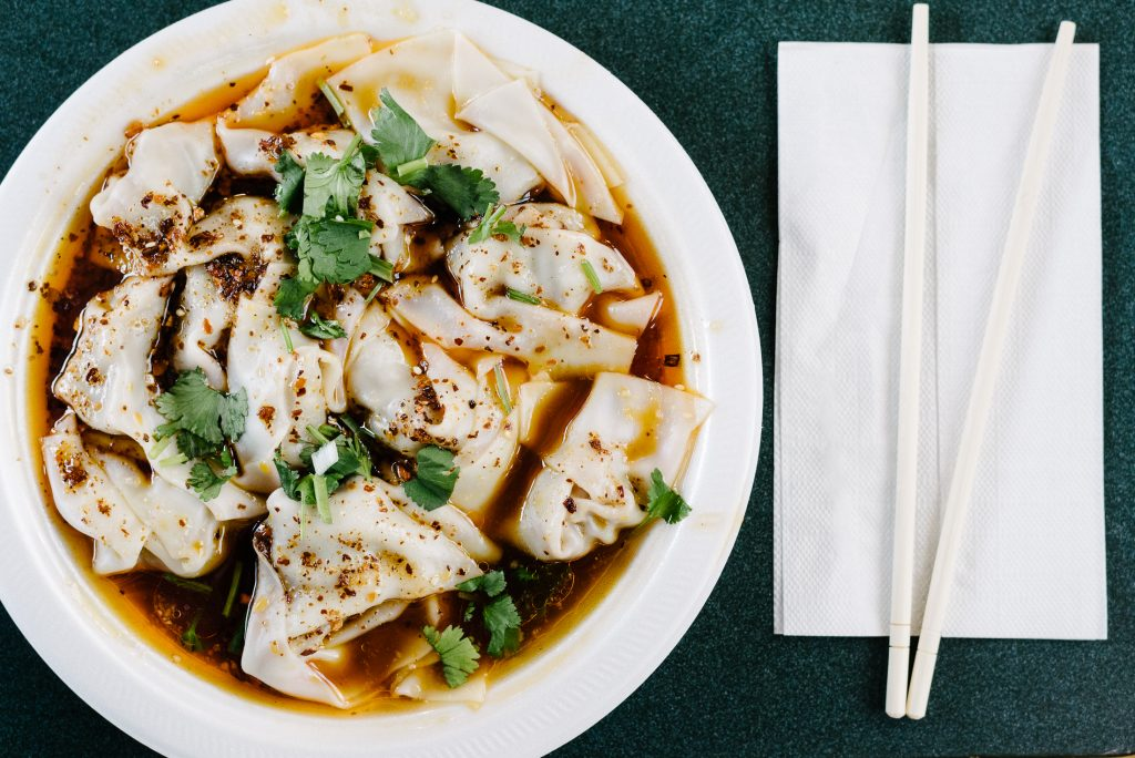 Spicy wonton at Xi'An Cuisine in Richmond Public Market, Canada