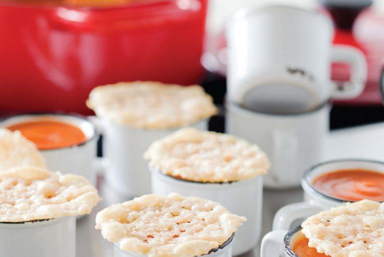 Recipe - Mini Tomato Soups with Crispy Parmesan Tuiles - Caren McSherry