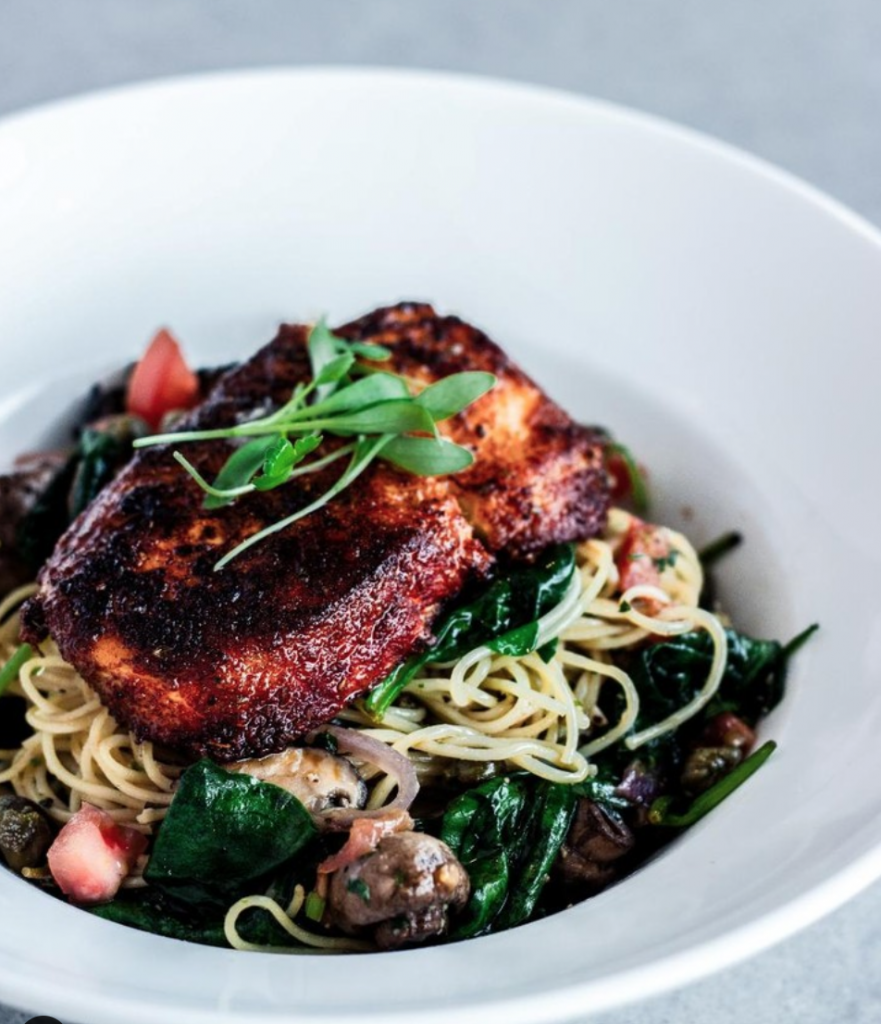 Blackened halibut pasta. | Photo: 75 West Coast Grill