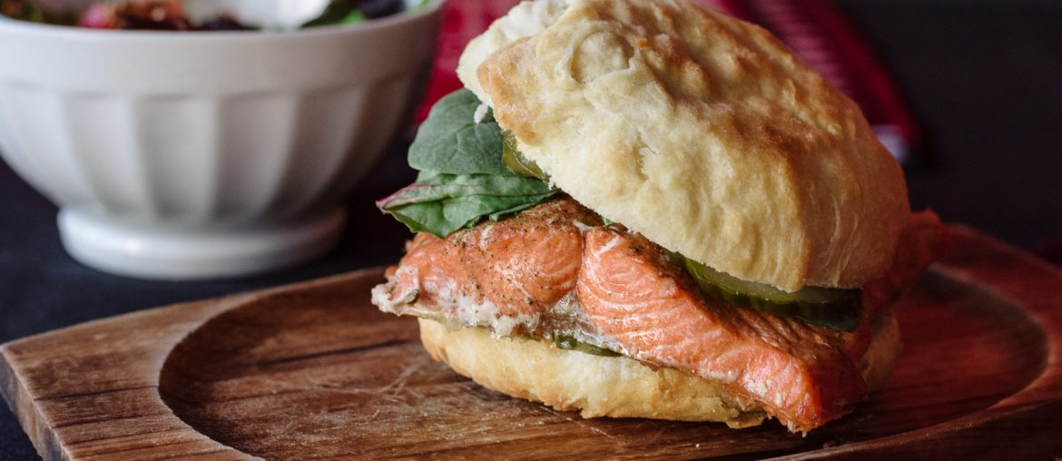 Salmon n' Bannock Burger | photo by Matt Law